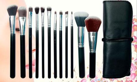 Set profesional de 12 brochas para maquillaje con estuche de piel sintética
