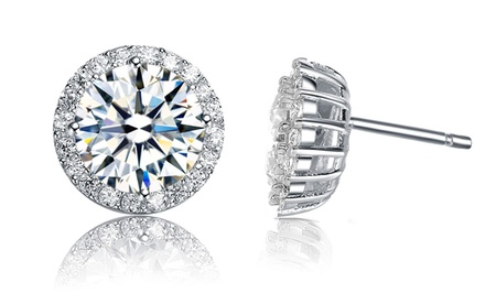 Round Pave Stud Earrings with Simulated Diamonds. Two Styles Available.