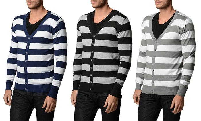 Men's Slim-Fit Striped Cardigans