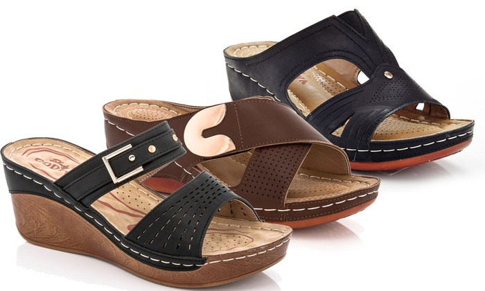 b7d4dabcd983 Lady Godiva Women s Comfort Wedge Sandals