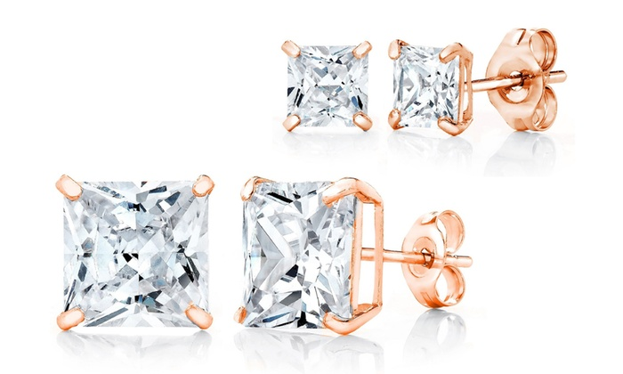 14K Rose Gold Stud Earrings Made with Swarovski Crystals  74ce229773