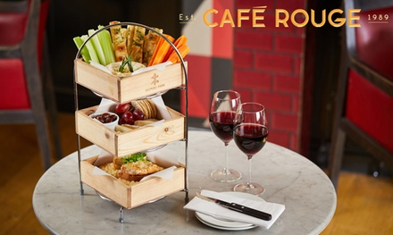 Cheese Lover's Afternoon Tea with Glass of Wine for Two at Café Rouge, Nationwide