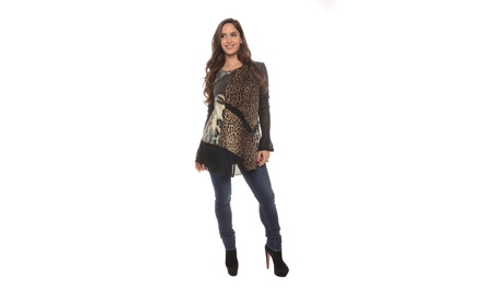 Women's Plus Size Lace-Trimmed Animal Print Tunics (Size 1X)
