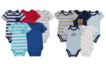 Wan-A-Beez Baby Girls' and Boys' Short Sleeve Bodysuit (5-Pack)