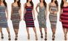 Junior's Sleeveless Stretchy Printed Bodycon Midi Dress: Junior's Sleeveless Stretchy Printed Bodycon Midi Dress
