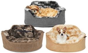 Faux Fur Princess Pet Bed with Plush Bone Pillow