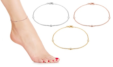 Anklets Made with Crystals from Swarovski® in White, Yellow or Rose Gold for £9.90 (80% Off)