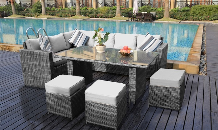 Yakoe Eight- or Nine-Seater Barcelona Rattan-Effect Garden Furniture Set with Optional Rain Cover