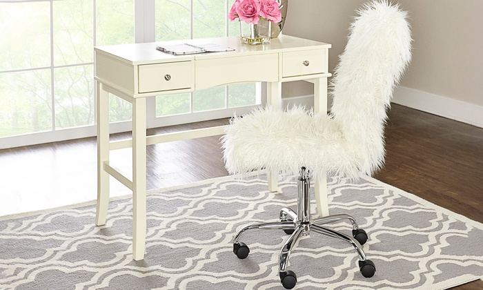 Faux Fur Upholstered Desk Chair