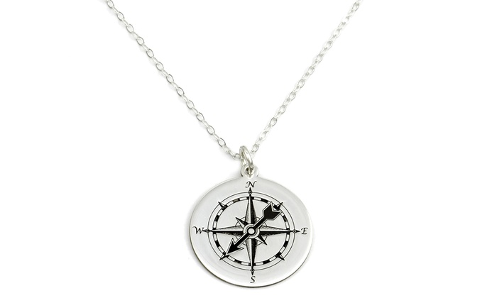 Custom sterling silver compass necklace groupon custom sterling silver compass necklace aloadofball Image collections