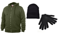 Mens Full-Zip Sherpa-Lined Hoodie Jacket with Hat and Gloves