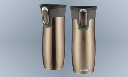 2-Pack of Contigo 16 oz. Auto-Sealing Stainless Steel Travel Mugs.