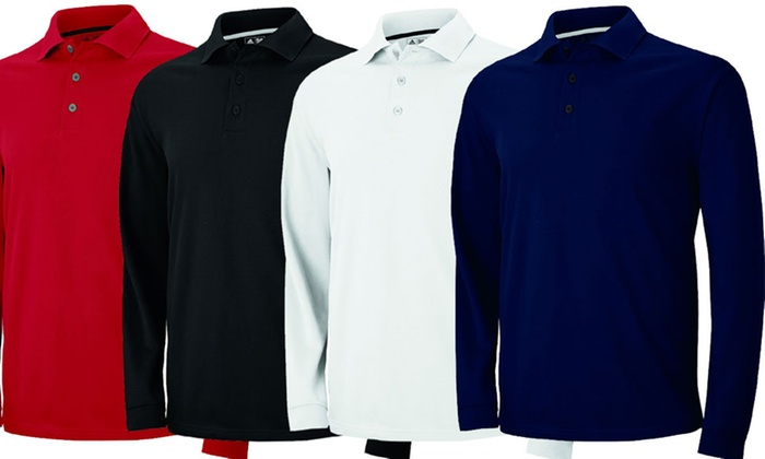 Adidas Golf Men's ClimaLite Long-Sleeve Pique Polo Shirt