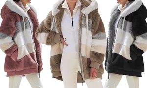 Manteau effet fourrure avec capuche pour femme