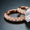 18K Rose Gold Plated Cubic Zirconia Ring Set By Barzel