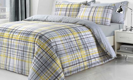 Sleepdown Check Reversible Duvet Set in Choice of Colour and Size