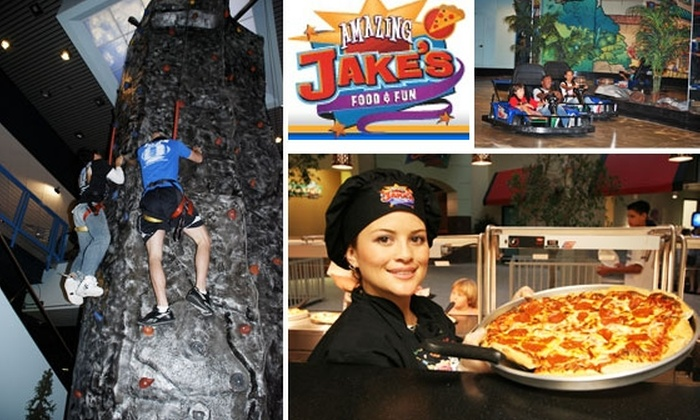 Amazing Jake's Food & Fun - Dallas: $18 for Four-Hour Unlimited Pass to Games, Food, and Fun at Amazing Jake's