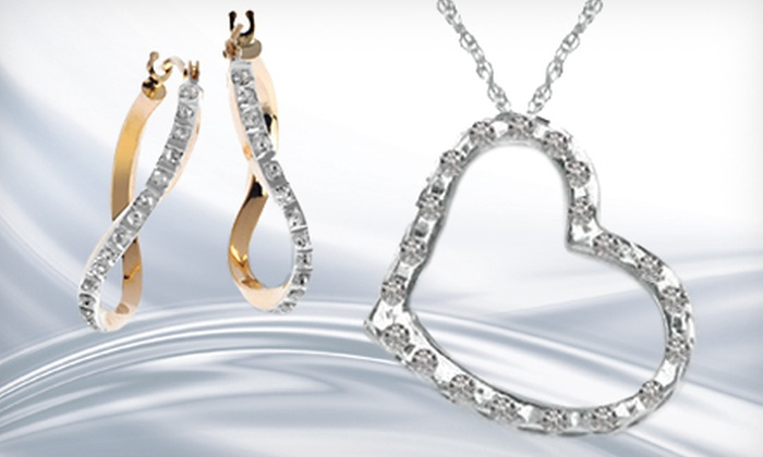 Diamond Fascination Jewelry: Diamond Fascination Platinum-Over-Sterling-Silver Floating Heart Pendant or 14K-Gold Diamond Fascination Wave Hoop Earrings from Keep America (Up to 67% Off)