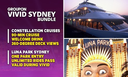 VIVID + LUNA PARK BUNDLE: 90Min Vivid Cruise with Constellation Cruises Plus Luna Park Unlimited Rides Pass