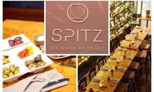 SPITZ Weinbar by TOPAZ: Platte mit 4 oder 12 Tapas-Schalen und 1 Fl. Wein für 2 oder 4 Pers. in der SPITZ Weinbar by TOPAZ (bis zu 47% sparen*)