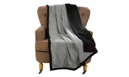 Two Soft Metallic Reversible Sherpa Throws
