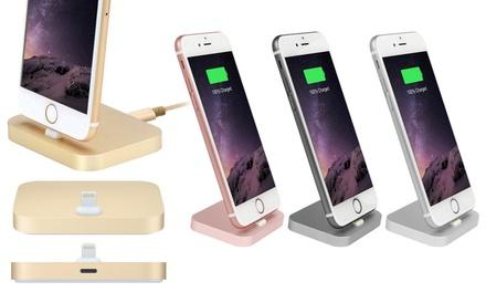 Smal laadstation voor iPhone van aluminium, naar keuze met gevlochten kabel in verschillende Applekleuren
