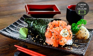 Okaeri Sushi: 1 ou 2 temakis + porção de 10 hot rolls no Okaeri Sushi – Santana Parque Shopping