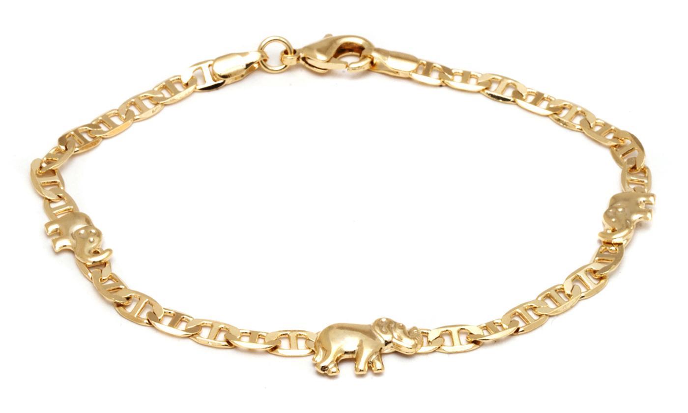 18K Gold Plated Elephant Charm Mariner Link Anklet