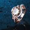 18K Rose Gold Plated Champagne Cubic Zirconia Ring by Barzel