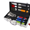 BBQ Set with Colored Handles and Aluminum Storage Case (8-Piece)