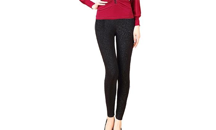 ברסקו - Merchandising (IL): מכנסי טייץ תרמיים עם בטנת פליז נעימה ומחממת בעיטור פרחים במגוון צבעים