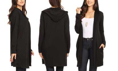 3acf9a202e8 Shop Groupon Nelly Women s Lightweight Hoodie Cardigan. Plus Sizes Available .