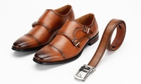 Groupon.com deals on Vincent Cavallo Mens Dress Shoes with Free Matching Belt