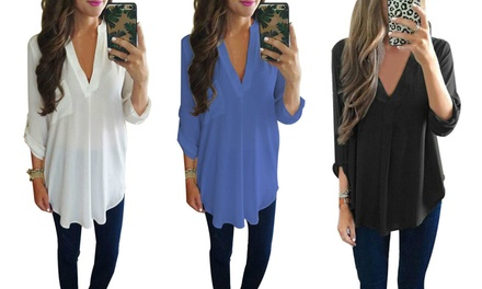 Long Sleeve V neck Loose Fit Blouse