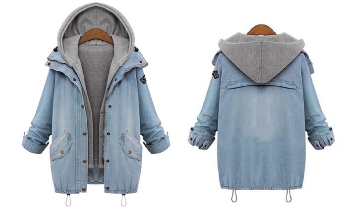 design intemporel bd8a3 9c24d Veste casual pour femme en jean avec capuche et gilet en molleton intégré