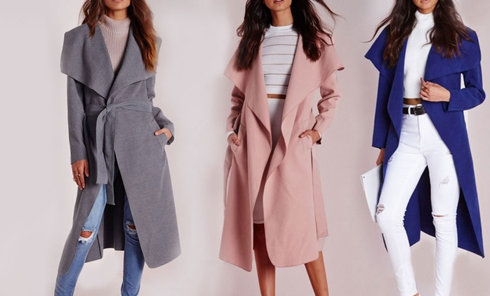 Belted Waterfall Coat in Choice of Colour With Free Delivery for €29.99 (74% Off)