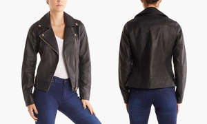 Steve Madden Women's Faux Leather Moto Jacket. Plus Sizes Available.