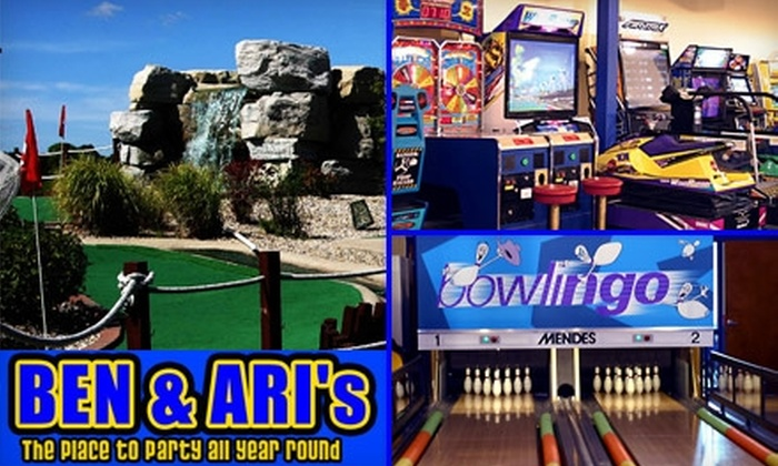 Ben and Ari's - Fishers: $15 for Four Games of Mini-Golf or Mini-Bowling, 25 Arcade Tokens, a Large One-Topping Pizza, and a Pitcher of Soda at Ben and Ari's (Up to $43.20 Value)