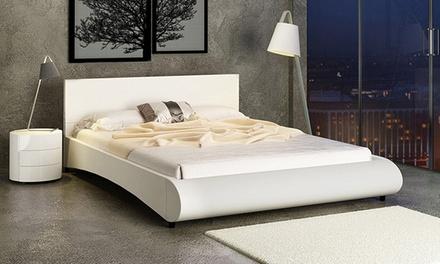 Lit design en simili cuirpour 2 personnes avec tête de lit