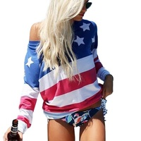 Groupon.com deals on Leo Rosi Womens American Flag Off-Shoulder Long Sleeve Top