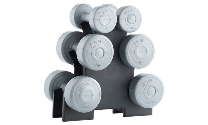 12kg Dumbbell Set with Pyramid Stand