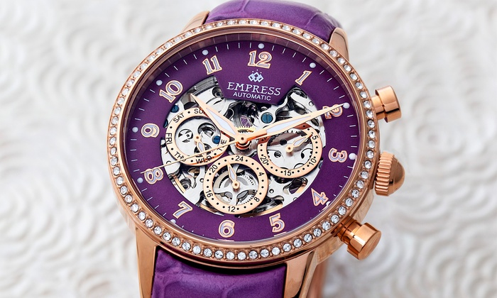 Empress Beatrice Automatic Skeleton Dial Leather Band Watch With Free Delivery