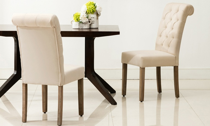 Modern Roll Top On Tufted Dining Chair Set 2 Piece
