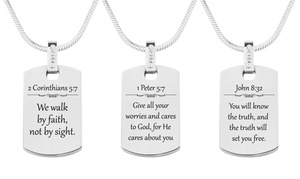 Pink Box Solid Stainless Steel Cubic Zirconia Scripture Tag Necklace