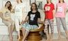 Women's Short-Sleeve Motif 3/4 Two-Piece Pyjama Set