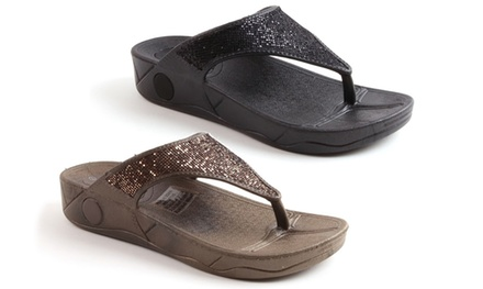 Women's Diamante Wedge Toning Flip Flops