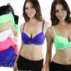 Two-Tone Demi-Cup Lace Bras (6-Pack)