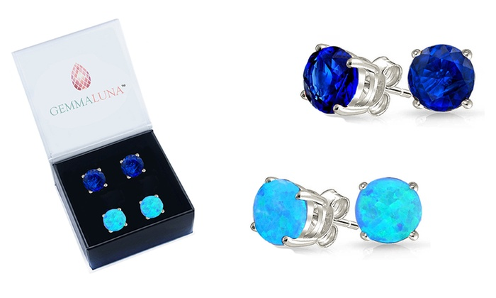 Up To 84% Off on Gemstone Studs Set (2 Pairs)