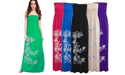 Floral Print Sheering Tube Maxi Dress