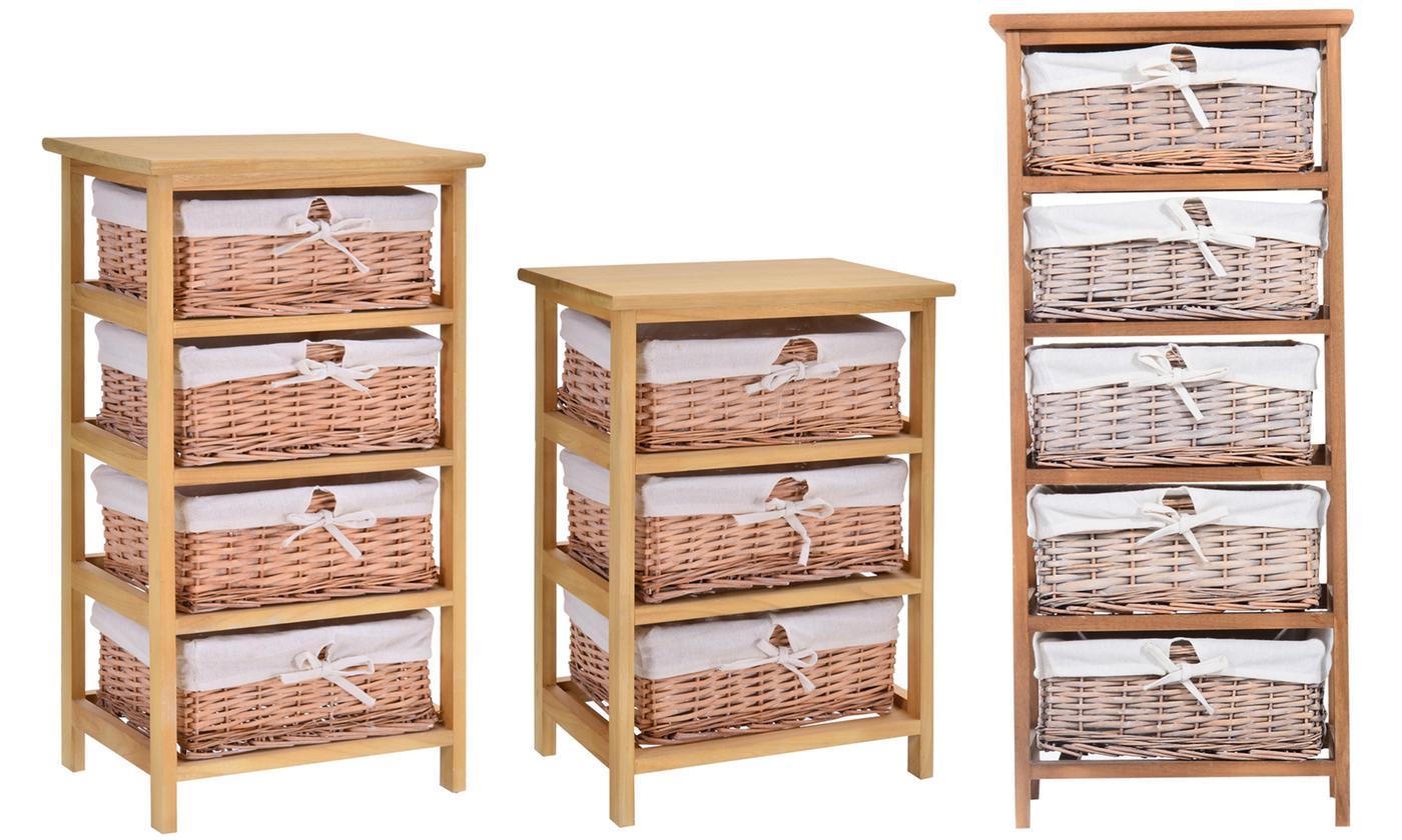 HomCom Wicker Basket Drawers